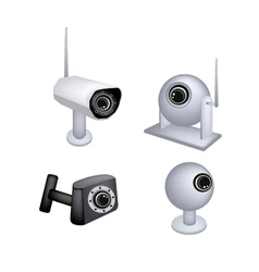 Set of CCTV Security Camera on White Background vector image vector image