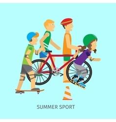 Summer sport active way of life conceptual banner vector