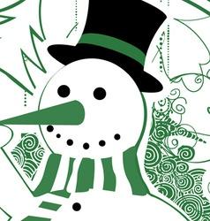 vintage christmas snowman vector image