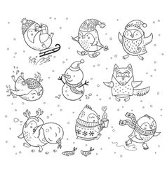 Winter season themed doodle set with penguins vector image