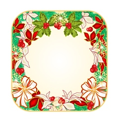 Button square Christmas Spruce with white bows vector image