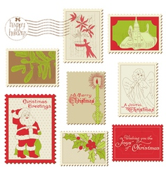 christmas vintage stamp collection vector image vector image
