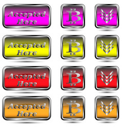 Set of buttons with bit-coin symbol vector
