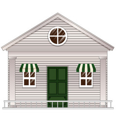 white cottage with green door vector image vector image