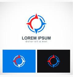 arrow compass star logo vector image