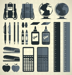 Back to School Silhouette and Icons vector image