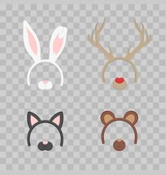 cartoon cute headband with ears holiday set vector image