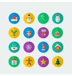 Colorful Christmas icon set vector image vector image