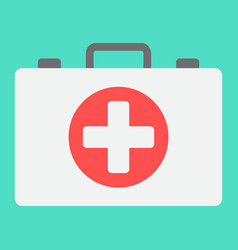 first aid kit box flat icon medicine vector image vector image