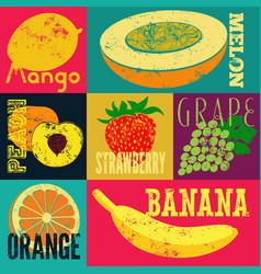 pop art grunge style fruit poster set of fruits vector image vector image