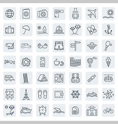 Travel line icon set vector image