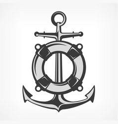 anchor with lifebuoy vector image vector image