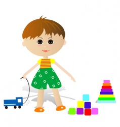boy with toys vector image