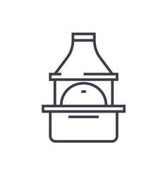 brick grill line icon sign vector image