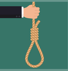 hand with rope hanging loop businessman suicide vector image vector image