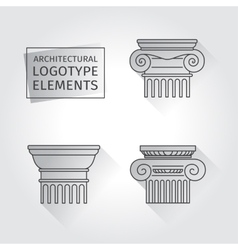 linear icons Columns Flat with long shadows vector image vector image