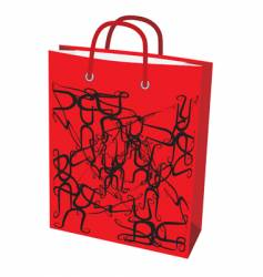 red paper bag for shopping vector image