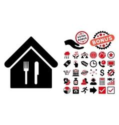 Restaurant Flat Icon with Bonus vector image vector image