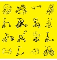 set of icon hand drawn baby transport vector image vector image