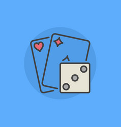 two playing cards with dice icon vector image vector image