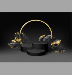 3d realistic black pedestal on a black background vector
