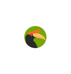Abstract bird hornbill head colorful logo design vector