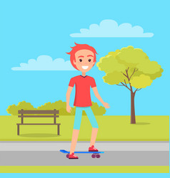 active teenager and park vector image