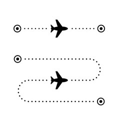 airplane flight route glyph icon vector image