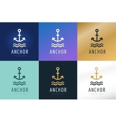 Anchor logo icon Sea sailor symbols vector image