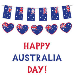 australia day card with flags and hearts bunting vector image