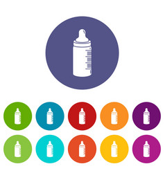 baby bottle icons set color vector image