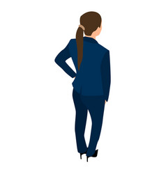 Back of business woman icon isometric style vector