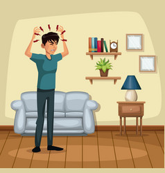 Background living room home with headache sickness vector