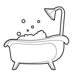 Bath icon outline vector