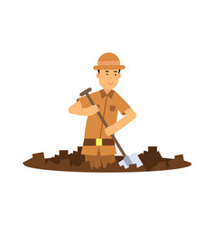 boy archaeologist character digging pit with vector image