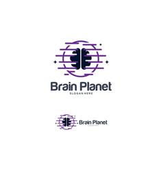 Brain logo designs template planet idea logo vector