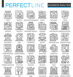 Business analytics outline mini concept symbols vector