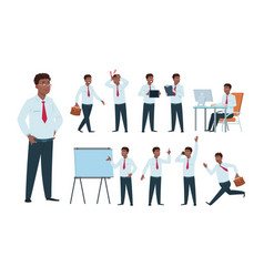 businessman character afro-american office vector image