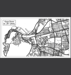 Cape town south africa map in black and white vector