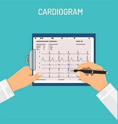 Cardiogram on clipboard in hands doctor vector