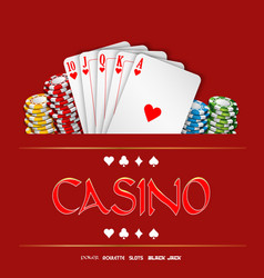 Casino background with chips and playing cards vector