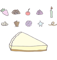 Cheesecake with different topping vector