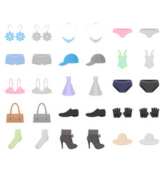 clothes and accessories cartoonmonochrom icons in vector image