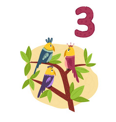 Counting from 1 to 10 number 3 page with colorful vector