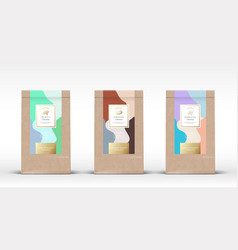 craft paper bag with chocolate labels set vector image
