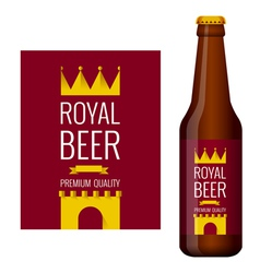 Design of beer label and bottle of beer vector image