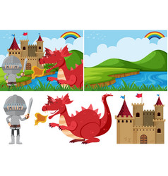 different fairytale scenes with knight and dragon vector image
