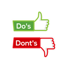 dos and dont good and bad icon check negative vector image