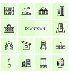 downtown icons vector image