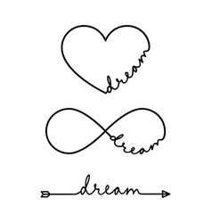 dream - word with infinity symbol hand drawn vector image